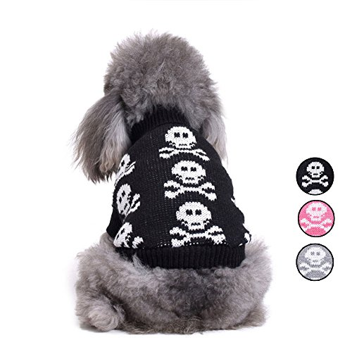 Knitted Skull Dog Sweater, 3 Patterns Holiday Halloween Christmas Pet Clothes, Knitwear Outerwear Dog Vest for Small Dogs and Cats by HongYH -