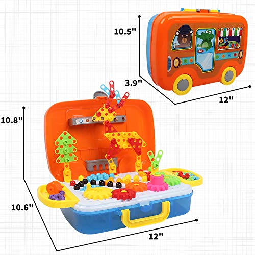 Electric Drill Puzzle Toys, 276PCS Building Mosaic Blocks Toy Set for Kids, Trendy Bit Design, Creative 3D DIY STEM Educational Set with Storage Box and Pegboard for 4-6 Ages Boys Girls Gift