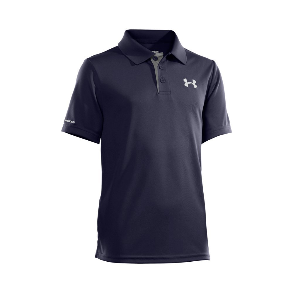Under Armour Boys' Match Play Polo, Midnight Navy /White, Youth X-Small by Under Armour