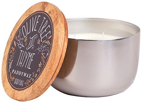 Tennessee State Tree (Paddywax Foundry Collection Scented Soy Wax Candle in Silver, 18-Ounce, Olive Tree & Thyme)