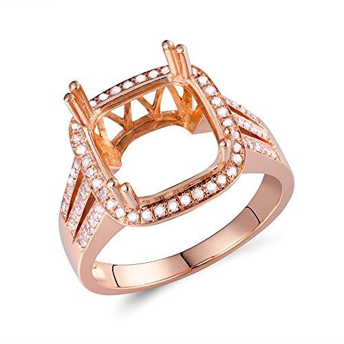 (Lanmi 14K Rose Gold Women's Cushion Cut 10X10mm Natural Diamond Semi Mount Engaement Ring Set)