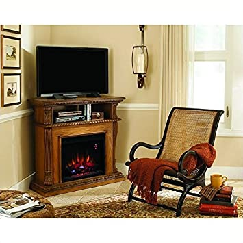 Amazoncom Corinth Oak Infrared Electric Fireplace TV Stand