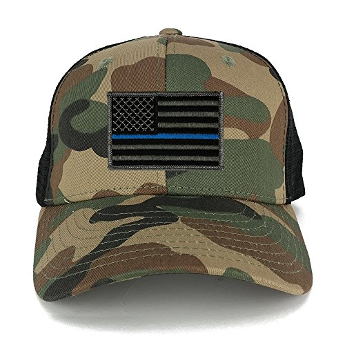 US American Flag Embroidered Iron on Patch Adjustable Camo Trucker Cap - WWB - Thin Blue
