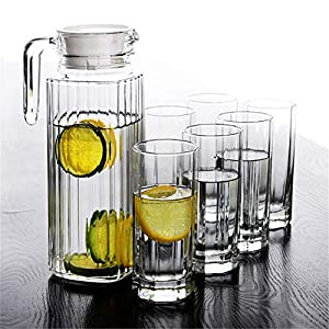Lunuolao 50 Ounces Cold Water Bottle Glass Pitcher, Heat-Resistant Strong, Large Capacity, Anti-Drip Spout,Convenient To Pour And Easy To Clean, Use