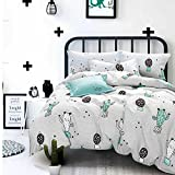 karever Cactus Bedding Sets Duvet Cover Set Pattern Soft Queen Size 100% Cotton 3 Piece Cartoon Reversible Anime King Size With Zipper Closure Corner Ties For Teens Girls Little Boys