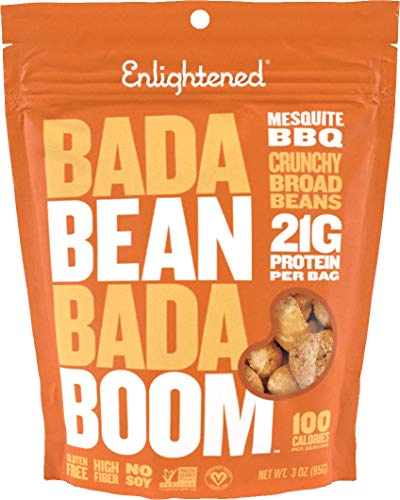 Enlightened Bada Bean Bada Boom Plant Protein Gluten Free Roasted Broad (Fava) Bean Snack, Mesquite BBQ, 3 Ounce, 6 Count For Sale
