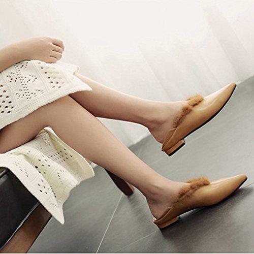 Giy Moda Donna Scarpe A Punta Penny In Finta Pelliccia Mocassino Slip-on Classico Casual Scarpe Con Tacco Basso Scarpe Mocassini Marrone
