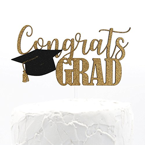 NANASUKO Graduation Party Cake Topper - Congrats GRAD - Premium quality Made in USA - double sided gold glitter with cap embellishment