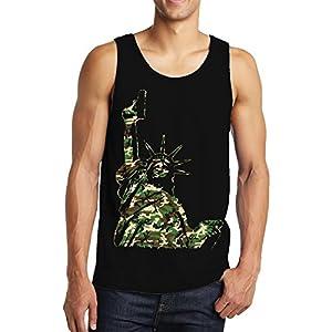 Camo Lady Liberty Holding Gun Men's Tank Top, SpiritForged Apparel, Black 3XL