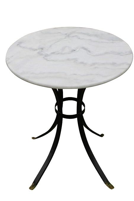 Table De Bistrot Avec Plateau En Marbre Blanc Convient