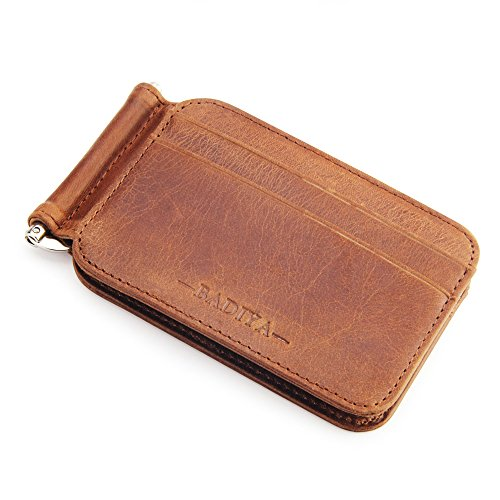 Badiya Men's Vintage Genuine Leather Bifold Money Clip Wallet Slim Card Holders (Brown (small size)) ()