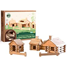 Varis 111 Piece Traditional ALL Wood Log Construction Set with Endless Combinations (Made in Latvia)