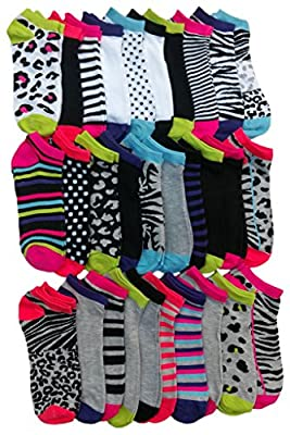 Value Pack Womens Low Cut Sport Ankle Socks, Many Colors Many Prints