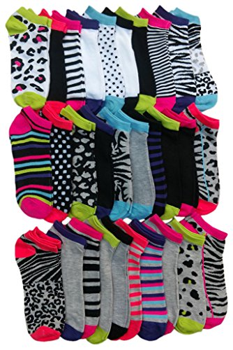 30 Pairs of WSD Womens Ankle Socks, Low Cut Sports Sock - Assorted Styles (Animal - Sporty Spice Outfit