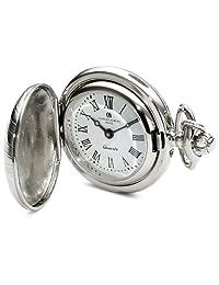 Charles-Hubert, Paris 6816 Classic Collection Chrome Finish Brass Quartz Pendant Pocket Watch