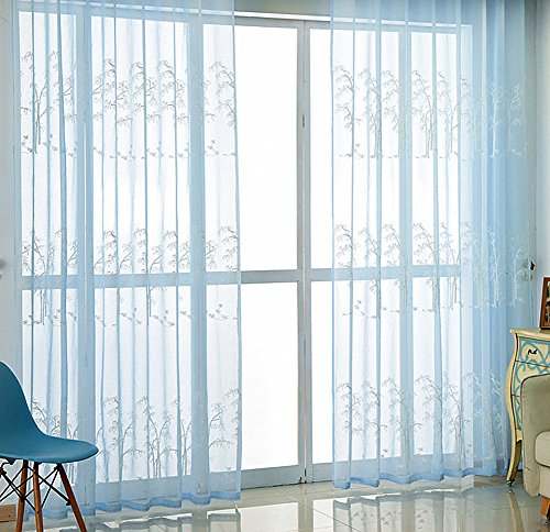 Aside Bside Chinese Rural Style Sheer Curtains Gauze Window Treatment with Embroidery Bamboo Leaf Pattern Rod Pocket Top for Living Room Study(1 Panel, W 100 x L 95 inch, - Wheat Curtain Bamboo
