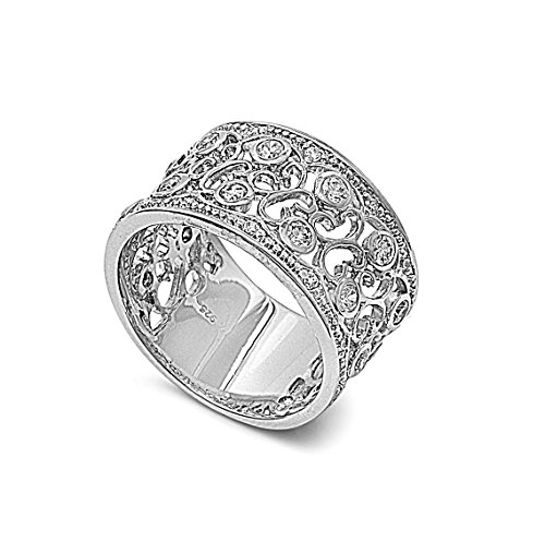 925 Sterling Silver Cubic Zirconia Pave Filigree Ring 12MM Size ()