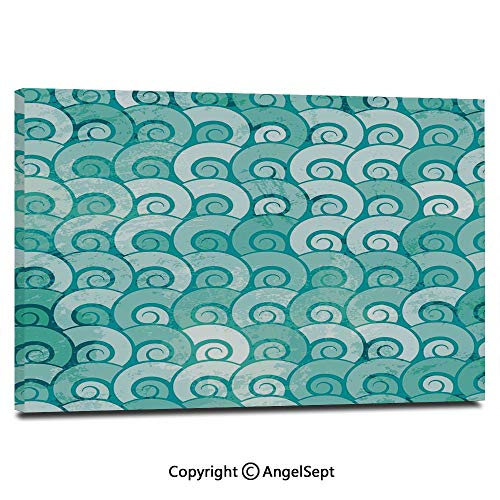 Modern Salon Theme Mural Abstract Swirled Sea Waves Pattern Spiral Forms Marine Theme Curvy Aquatic Artwork Print Painting Canvas Wall Art for Home Decor 24x36inches, Aqua