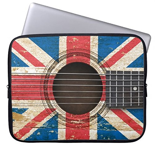 r Sleeve Soft Neoprene Breathable Old Acoustic Guitar with British Flag Case Bag Water Proof Netbook Envelope Computer Case for Lapotp (Vintage Guitars Net)