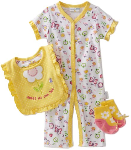 Vitamins Baby Baby-Girls Sweet As Can Bee 3-Piece Coverall Set