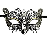 Burlesque-Boutique Halloween Laser Cut Metal mask in Black finsh Clear