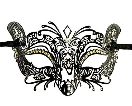 Burlesque-Boutique Halloween Laser Cut Metal mask in Black finsh Clear