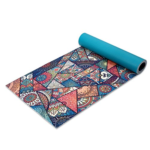 Trideer Premium Printed Yoga Mat, 1/4″ Extra Thick Non-Slip Eco-friendly Anti-Tear 6mm Floor Pilates Exercise Mat for Yoga, Workout, Fitness with Carrying Strap (Enchanting Rococo)