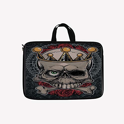 (3D Printed Double Zipper Laptop Bag,Roses Bones Dead King Halloween Illustration,Tan,10 inch Canvas Waterproof Laptop Shoulder Bag Compatible with 9.7