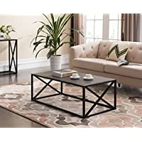 Grey Finish / Black Frame X-Design Sides Occasional Coffee Table 44W