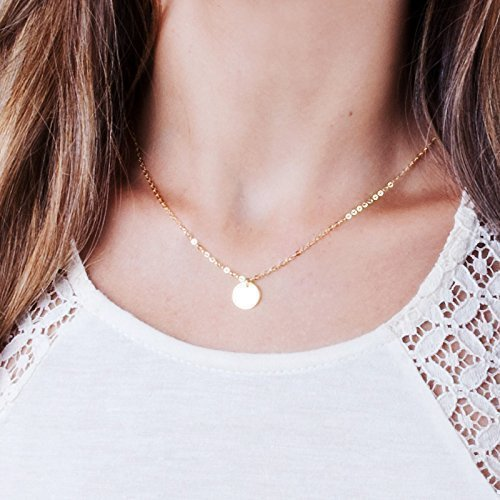 Disc Filled Gold (Small Gold Disc Layered Necklace - Minimal Designer Handmade Coin Necklace 16 inch + 2 inch Extender)