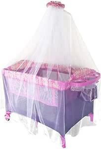 سرير أطفال بمظلة  زهري