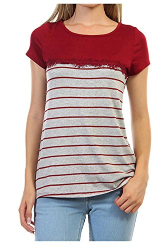 G2 Chic Women's Striped Fringed Lace Jersey Tee(TOP-CAS,DRD-S)