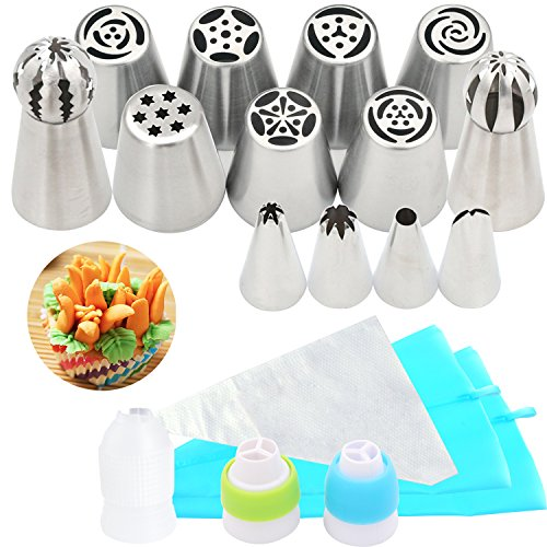 38 PCS Cake Decorating Tips Kit Includes Guided eBook -7 Large Russian Piping Tips-4 Icing Nozzles-2 Russian Ball Tips-22 Pastry Bags-1 Single and 2 Tri-Color (Anniversary Decorating Kit)