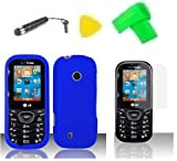 Phone Case Cover Cell Phone Accessory + Yellow Pry Tool + Screen Protector + Stylus Pen + EXTREME Band for LG Cosmos 3 VN251S VN251 (Blue)