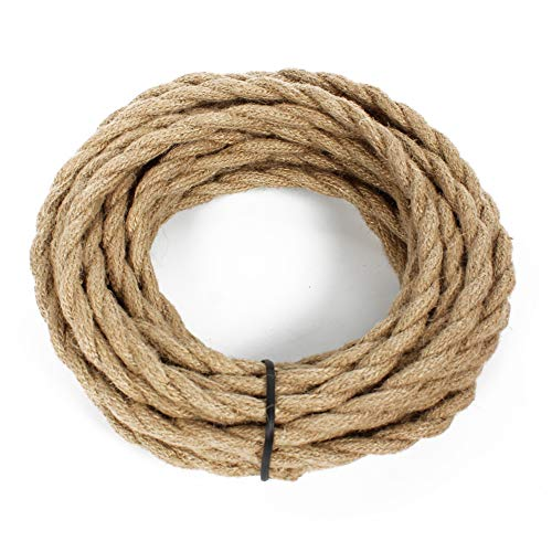 25ft Rope Covered Lamp Twisted Wire,PRUNLLA Vintage 18/2 Industrial Electrical Hemp Rope Cord,18-Gauge Antique Style for Retro Lamp,DIY Projects (Hemp Rope) ()