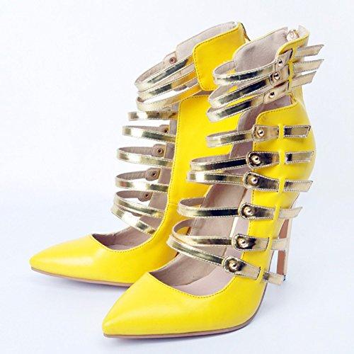 Kolnoo Damen Faschion Hallo Oberseiten Bügel-spitze hohe Absätze Partei Abend Pumpen Schuhe Yellow