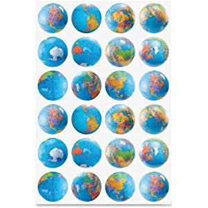 Hygloss Products, Inc. Globe Stickers, Classpack, 72/PK, Ast