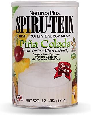 NaturesPlus SPIRU-TEIN Shake – Pina Colada Flavor – 1.2 lbs, Spirulina Protein Powder – Plant Based Meal Replacement, Vitamins Minerals for Energy – Vegetarian, Gluten-Free – 15 Servings