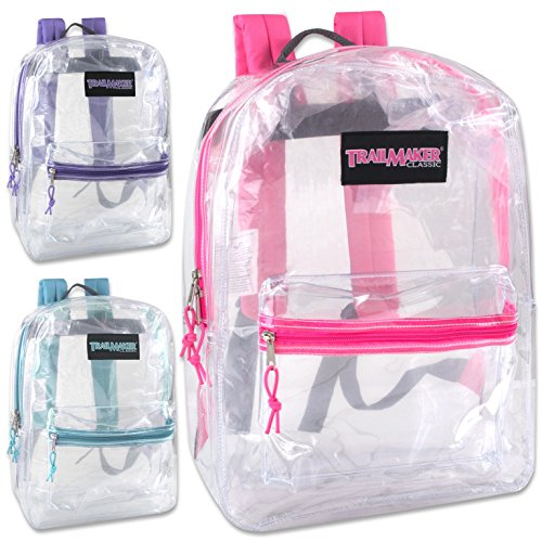 Classic 17 Inch Clear Backpack - Girls Case Pack 24 from Trail maker