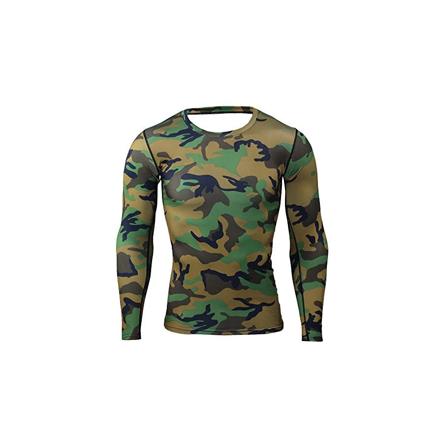 Findci Mens Sports Compression Baselayer Set Leisure Camouflage Long Sleeves Workout Trousers Training Tracksuits