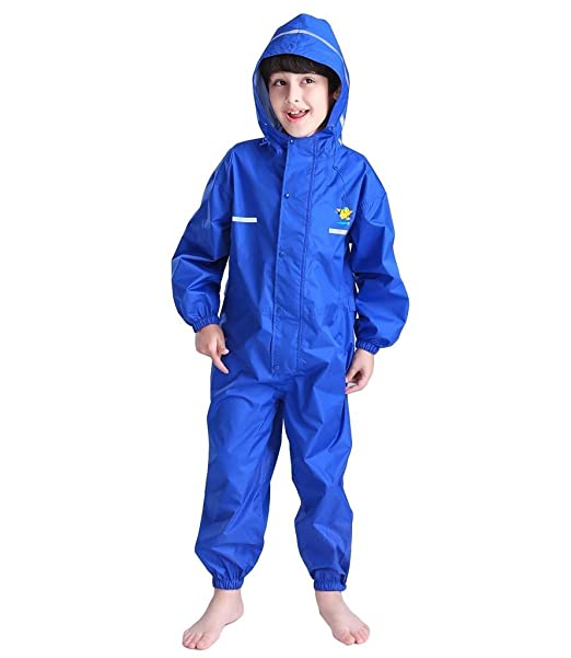 All in One Dry Suit for Outdoor Play CADong Childrens Waterproof Rainsuit Ideal Outerwear for Boys and Girls