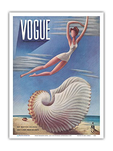 Fashion Magazine - July, 1937 - Surreal Beach Fantasy - Vintage Magazine Cover by Miguel Covarrubias c.1937 - Master Art Print 9in x 12in (Best Fashion Magazine Covers)