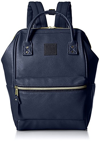 Anello Large Leather Backpack (Navy Blue) - 2