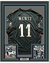 Framed Autographed/Signed Carson Wentz 33x42 Philadelphia Eagles Nike Green Football Jersey Fanatics Authentic COA
