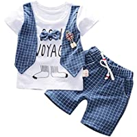 Baby Boys Gentleman Suit Outfits,Fineser Toddler Baby Boys Short Sleeve Gentleman Bow T-Shirt Tops+Shorts Pants Clothes Set