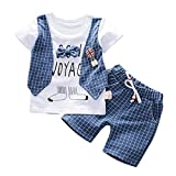 Hot Toddler Baby Boys Striped Pullover T-Shirt Tops Gentleman Bow O-Neck Tops Shorts Pants Outfits Clothes Set (Blue, 110/XL)