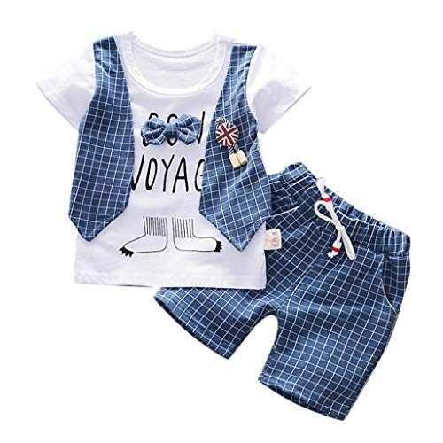 Newborn Baby Short Sets Baby Boys Gentleman Plaid Print Short Sleeve Tops Short Pants Summer Outfits (Age: 2-3Years, Blue) -