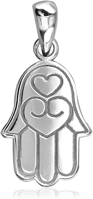 Hand of God Charm Evil Eye Jewelry Protective Pendant Small Sterling Silver Hamsa Hand Necklace