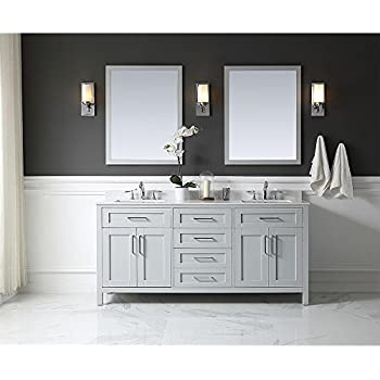 Ove Decors Tahoe 72G Marble Top Bathroom Double Sink Vanity, 72 Inch By 21