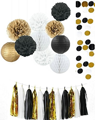 Amazoncom Kubert Mixed Gold Black White Party Decor Kit Paper